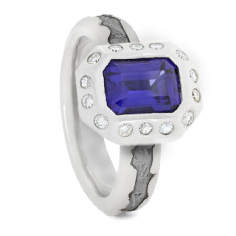 10k White Gold Wedding Band with Meteorite, Sapphire and Moissanites-1507 - Jewelry by Johan