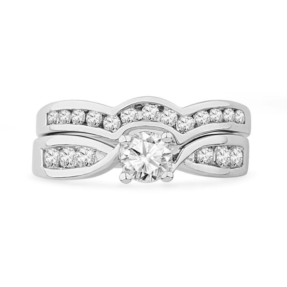 Sterling Silver Diamond Solitaire Bridal Ring Set-SHRB026118-SS - Jewelry by Johan