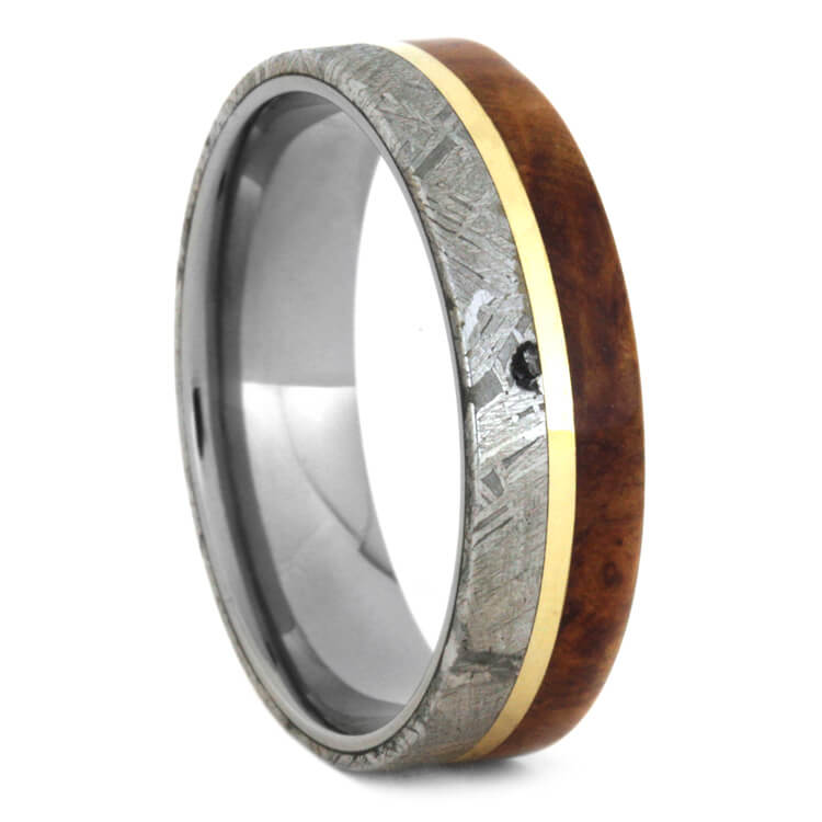 Meteorite And Wood Wedding Band With Yellow Gold, Size 13.5-RS9538 - Jewelry by Johan