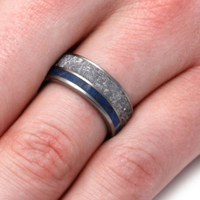 Meteorite Men's Wedding Band With Lapis Lazuli In Titanium Ring-2977 - Jewelry by Johan