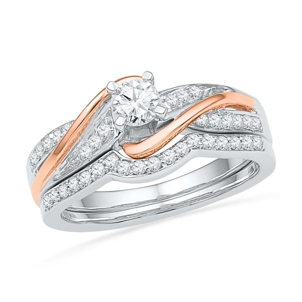 Sterling Silver and Rose Gold Diamond Twist Engagement Ring Set in Sterling Silver and Rose Gold