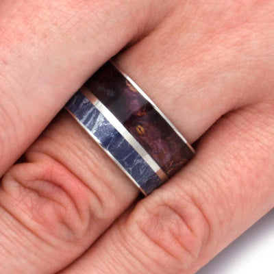 Blue Mokume Ring With Purple Box Elder, Titanium Ring-2923 - Jewelry by Johan