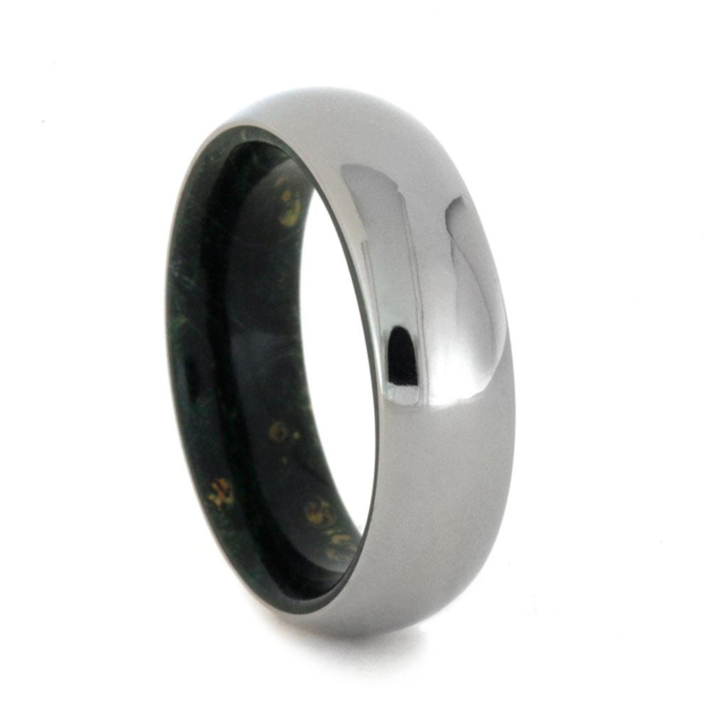 Titanium Wedding Band With Green Box Elder Burl Wood, Size 7-RS9148 - Jewelry by Johan