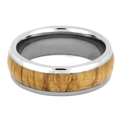 Polished Oak Wood And Titanium Wedding Band, Wood Ring-2370 - Jewelry by Johan