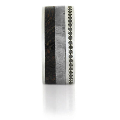 Black Diamond Eternity Wedding Band for Men with Dinosaur Bone and Meteorite-DJ1021WG - Jewelry by Johan