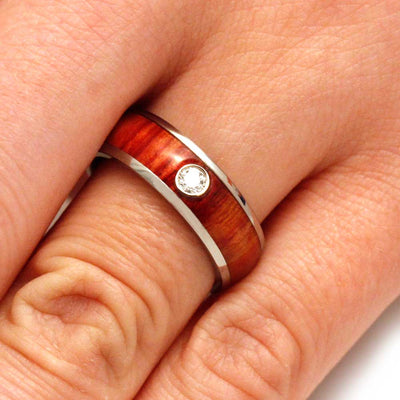 Diamond Wood Wedding Band With White Gold Bezel And Titanium Ring-3148 - Jewelry by Johan