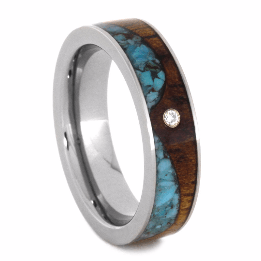 Titanium Ring With Koa Wood And Turquoise