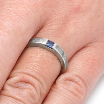 Blue Sapphire Engagement Ring, Meteorite Ring in White Gold