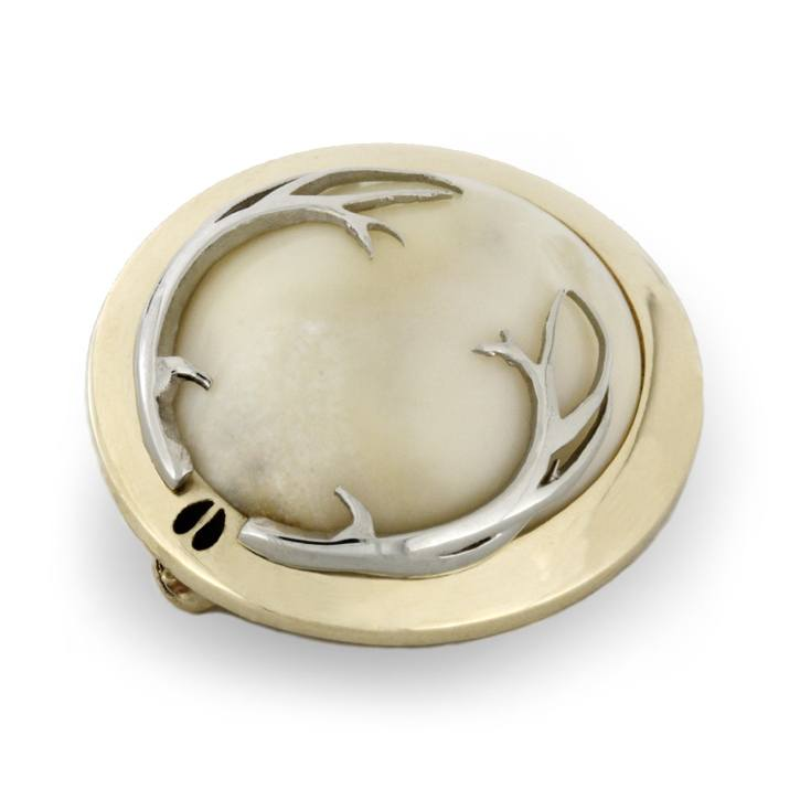 Elk Ivory Brooch in Yellow Gold Bezel with 14k White Gold Antlers-1830 - Jewelry by Johan