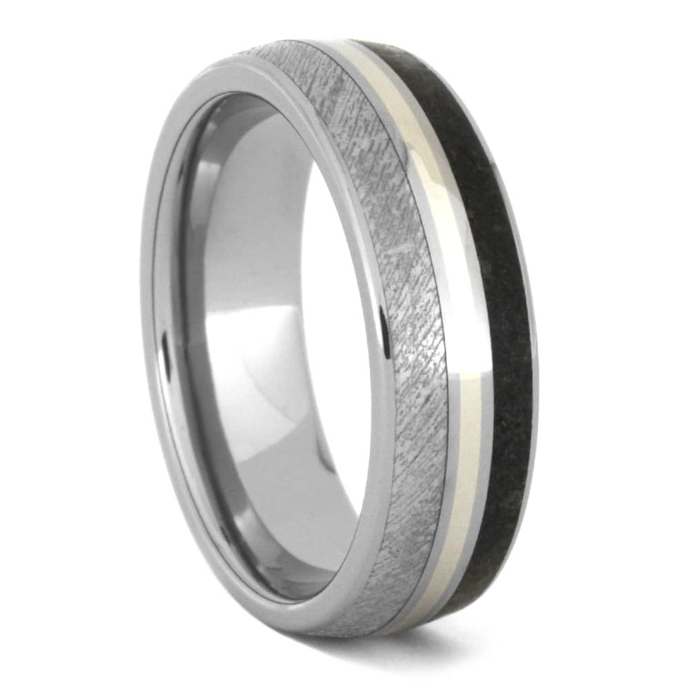 Dinosaur Bone Ring, Meteorite Wedding Band With White Gold