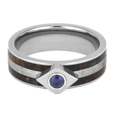 Meteor Engagement Ring With Sapphire, Titanium Ring Inlaid With Dinosaur Bone-2550 - Jewelry by Johan
