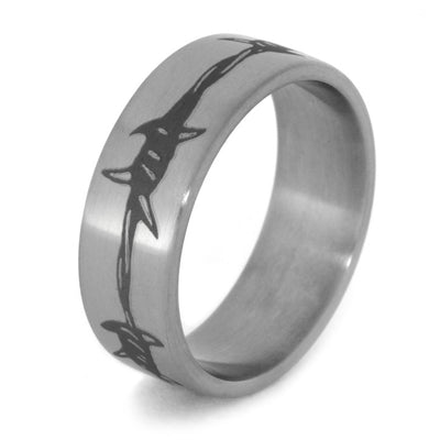 Barbed Wire Engraved Men's Wedding Band, Size 10-RS8470 - Jewelry by Johan