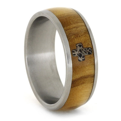 Olive Wood Ring With Deer Antler Inlay In Cross Shape