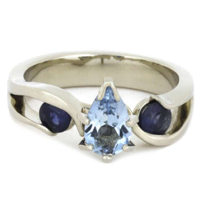 Pear Aquamarine Engagement Ring With Blue Sapphires, Meteorite Ring