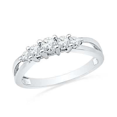 Five Stone Diamond Ring in Sterling Silver