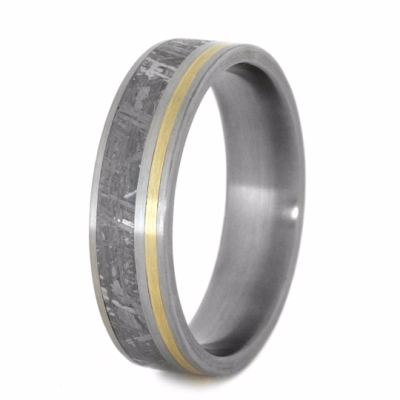 Meteorite And Yellow Gold Wedding Band-2268 - Jewelry by Johan