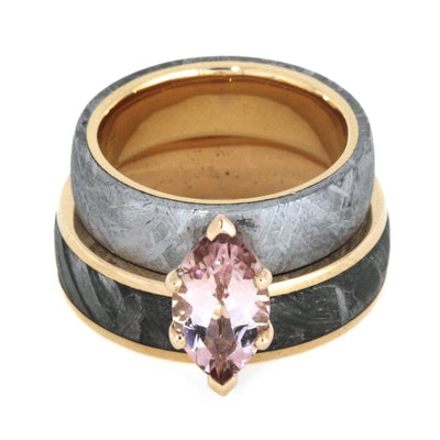 Rose Gold Wedding Rings with Meteorite, Morganite Engagement Ring-2822 - Jewelry by Johan