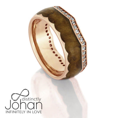 Diamond Eternity Wedding Band, 14k Rose Gold Crown Ring With Teak Wood-DJ1014RG - Jewelry by Johan