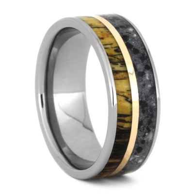 Concrete Ring With Tamarind Wood And Copper, Titanium Wedding Band-3568