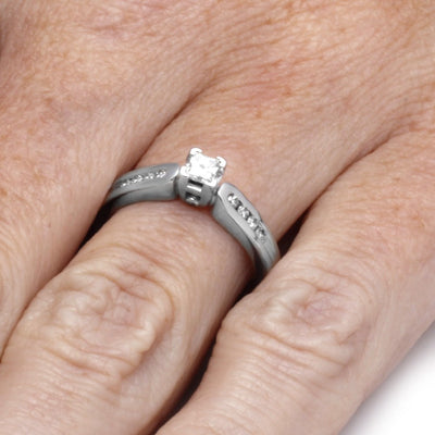Diamond Fashion Engagement Ring, 14k White Gold Ring On a Hand
