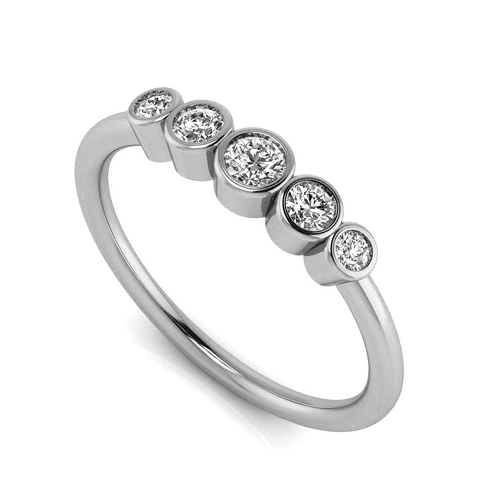 Five Stone Diamond Engagement Ring in White Gold-3122 - Jewelry by Johan