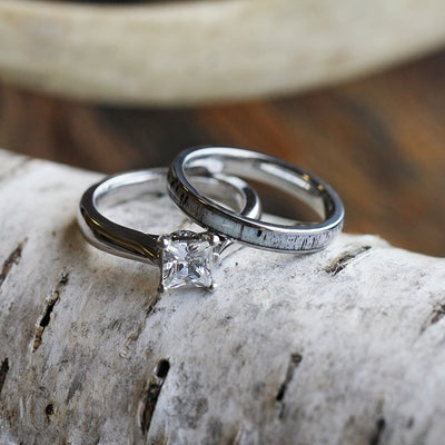 Deer Antler Bridal Set With Moissanite Engagement Ring And Antler Wedding Band-3437 - Jewelry by Johan