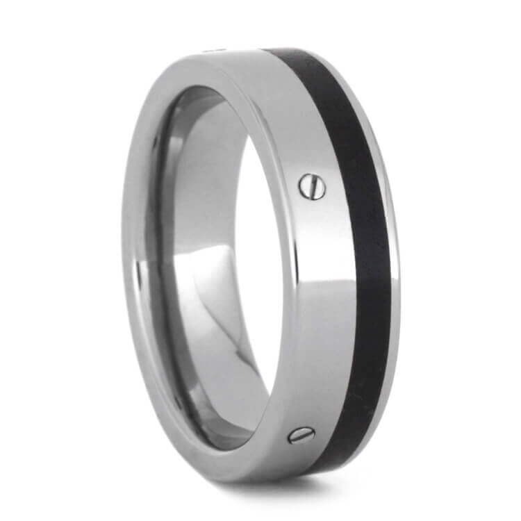 Obsidian Wedding Band, Titanium Ring With Stainless Steel Screws-3582 - Jewelry by Johan