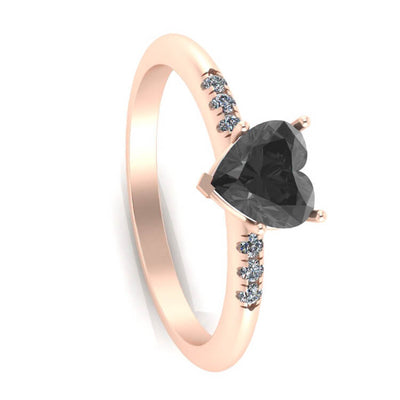 Black Onyx Engagement Ring, 14k Rose Gold Ring With Diamonds-3381