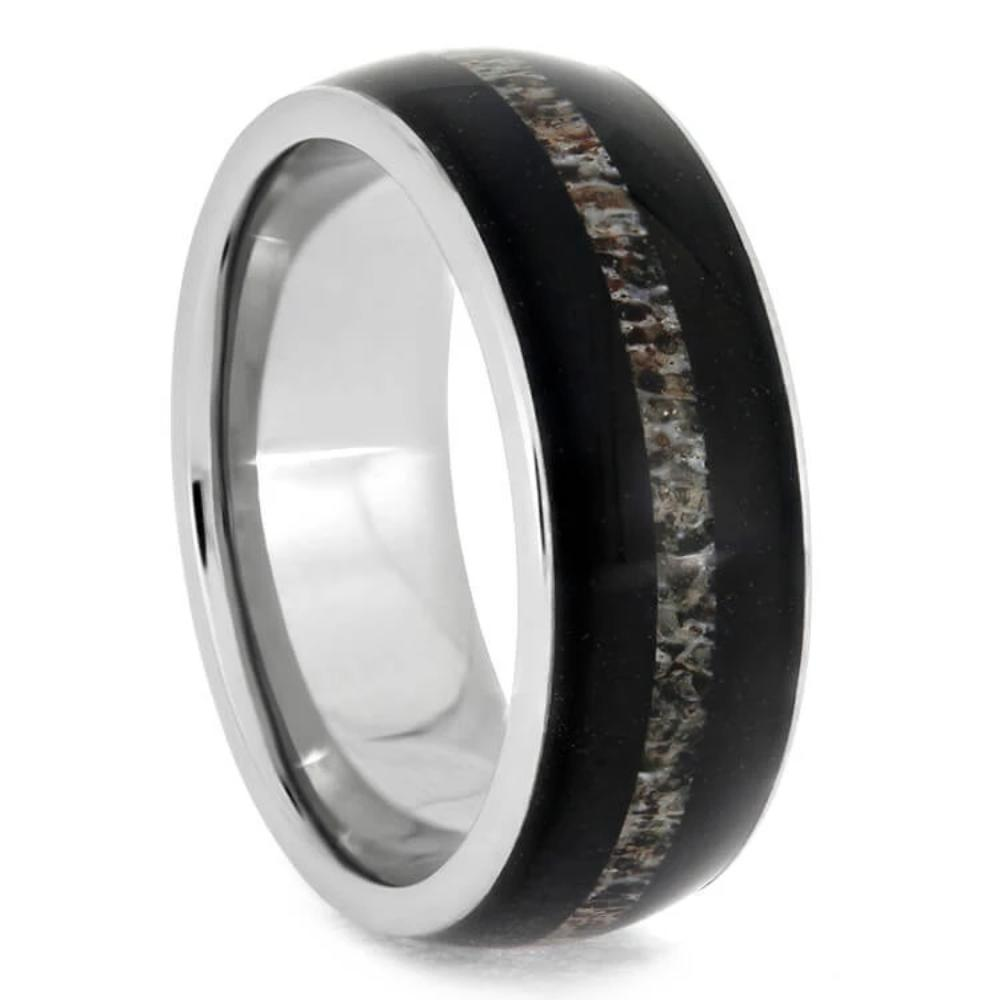 African Blackwood Bands: African Blackwood Ring With An Antler Median In Titanium