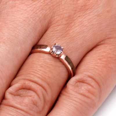Pink Engagement Ring With Fossil
