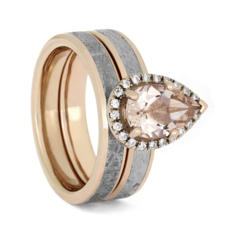 Pear Shaped Morganite Bridal Set, Meteorite And Rose Gold-2756 - Jewelry by Johan