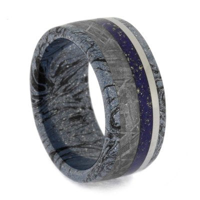 Lapis Lazuli And Mokume Gane Wedding Band, Size 9-RS10568 - Jewelry by Johan