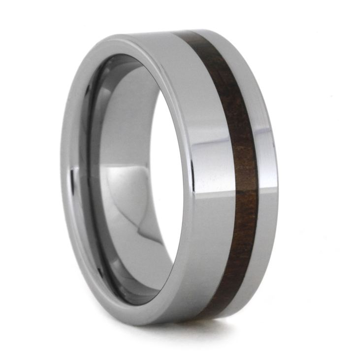 Polished Tungsten Ring With Caribeean Rosewood Inlay