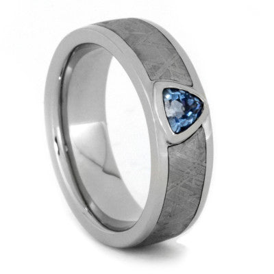 Blue Topaz Ring with Meteorite in White Gold Engagement Ring
