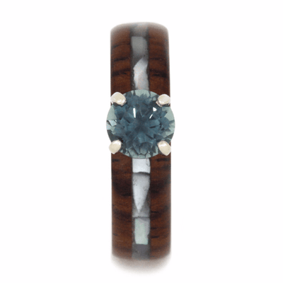 Blue Topaz Engagement Ring With Honduran Rosewood, White Gold-2126 - Jewelry by Johan