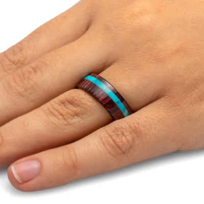 14k White Gold Wedding Band with King Wood and Turquoise Ring-2003 - Jewelry by Johan
