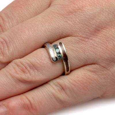 Alexandrite Three Stone Ring With Dinosaur Bone In 10k White Gold-2007 - Jewelry by Johan