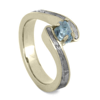 Aquamarine Engagement Ring with Meteorite in White Gold Design-2017 - Jewelry by Johan