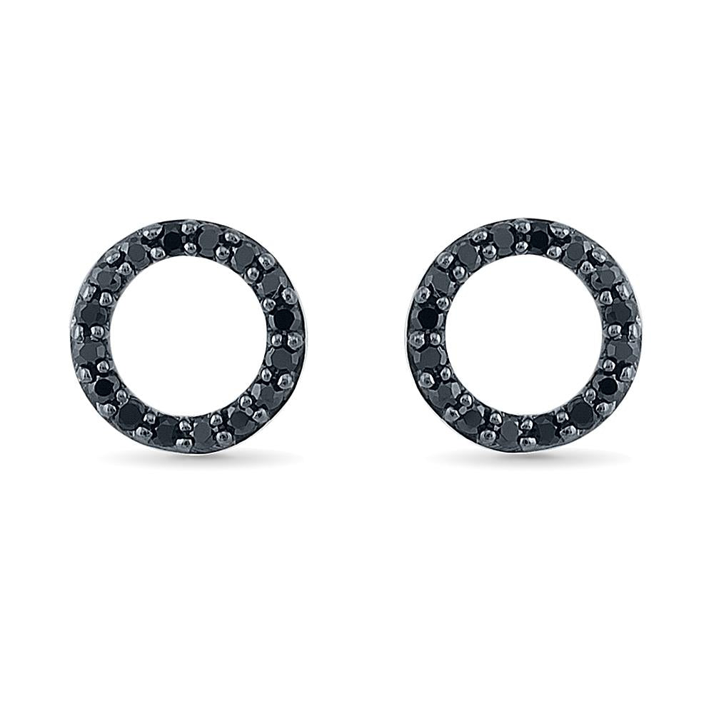 Black Diamond Circle Stud Earrings, White Gold or Silver-SHEW201881 - Jewelry by Johan