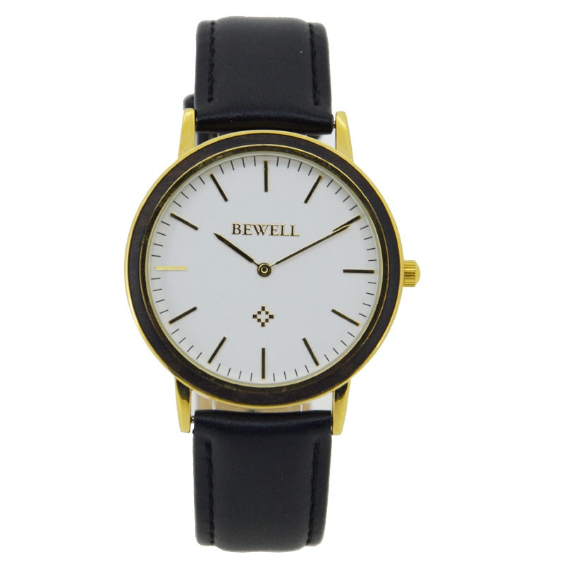 Leather Black Sandalwood Watch For Women
