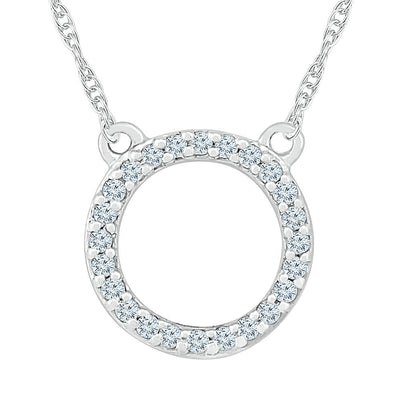 White Diamond Circle Necklace