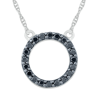 Reversible Circle Diamond Necklace in Sterling Silver-SHNW203014-SS - Jewelry by Johan