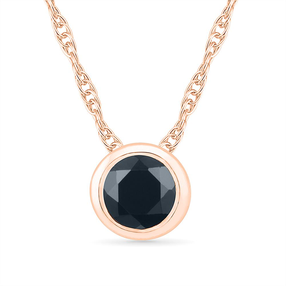 Black Diamond Bezel Set Necklace, Rose Gold or Silver-SHPS203038 - Jewelry by Johan