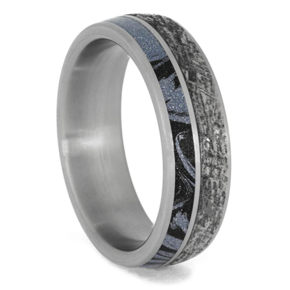 Men's Unique Titanium Band, Mokume and Mimetic Meteorite Ring-3944 - Jewelry by Johan