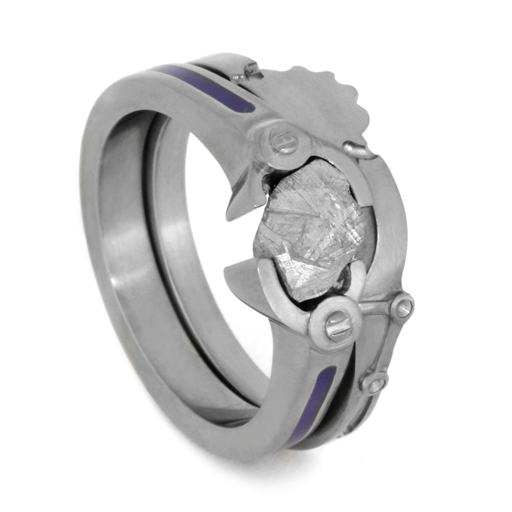 Titanium Robotic Themed Bridal Set With Meteorite-2056 - Jewelry by Johan