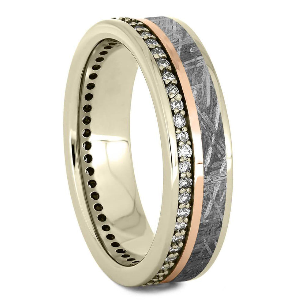 Diamond & Meteorite Eternity Band With Gold Pinstripe - Jewelry by Johan