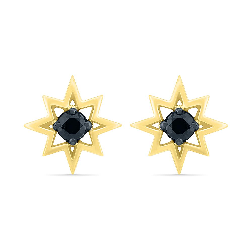 Star Stud Earrings With Black Diamond, Yellow Gold or Silver-SHEQ207771 - Jewelry by Johan