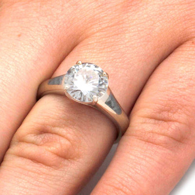 White Gold Engagement Ring With Moissanite And Meteorite Accents