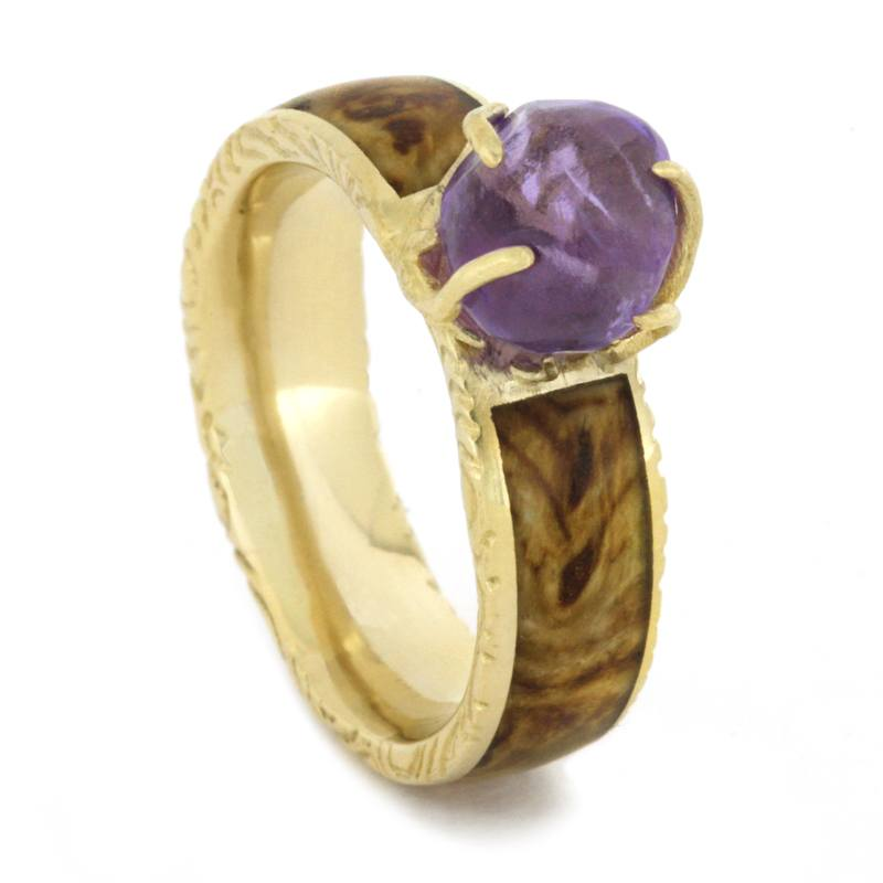 Purple Amethyst Detailed Yellow Gold Ring with Black Ash Burl-1657 - Jewelry by Johan