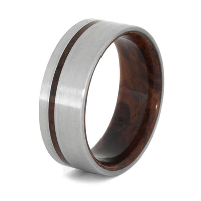 titanium wedding band with honduran rosewood sleeve showing